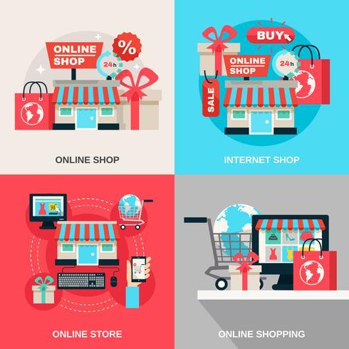 Internet Shopping décoratif Icon Set vecteur