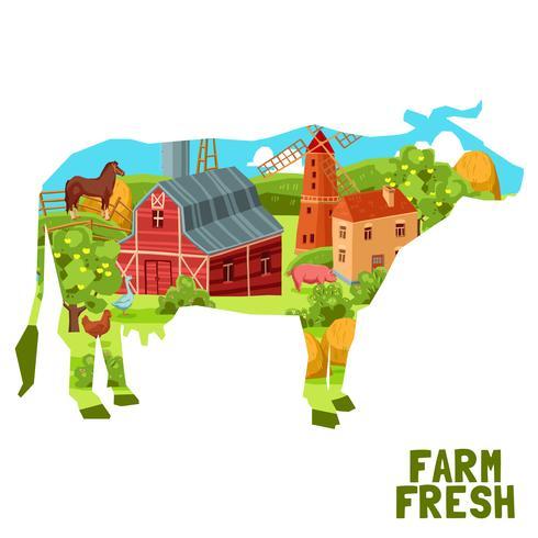 Concept de vache à la ferme vecteur