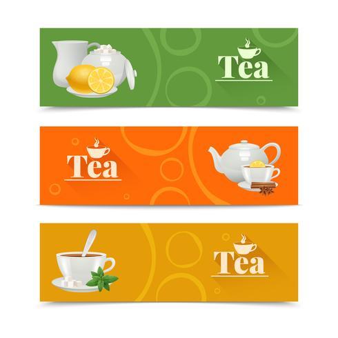 Ensemble de bannières de thé vecteur