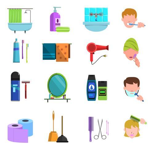 Ensemble d'icônes plat produits de soins personnels vecteur