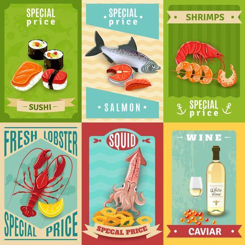 Ensemble d'affiches de fruits de mer vecteur
