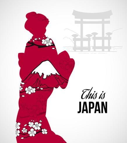 Illustration silhouette geisha vecteur