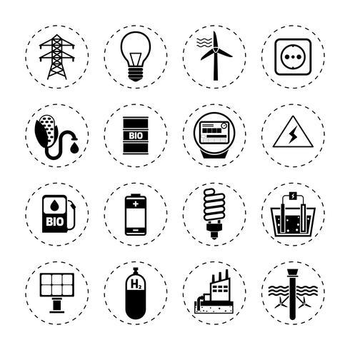 Icônes d'énergie alternative noires vecteur