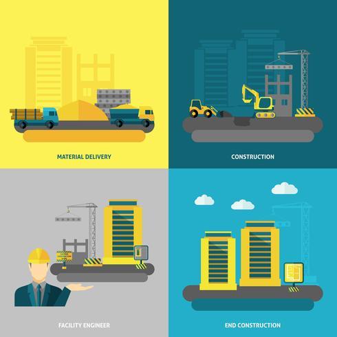 Icônes de construction plats vecteur