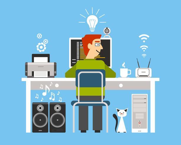 Programmeur sur le lieu de travail vecteur