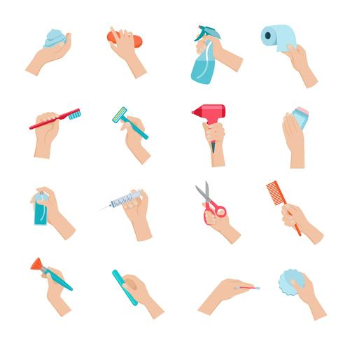 Main tenant le jeu d'icônes d'objets vecteur