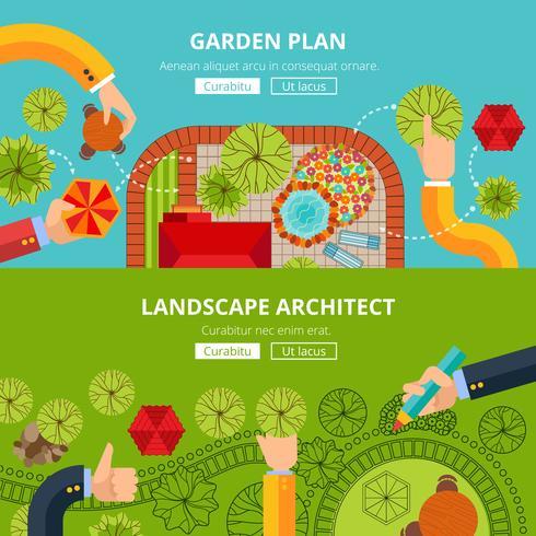 Affiche de concept de conception de jardin paysage vecteur