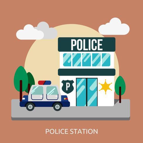 Commissariat de police Illustration conceptuelle Design vecteur