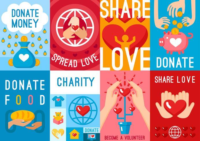 Ensemble d'affiches de dons de charité vecteur