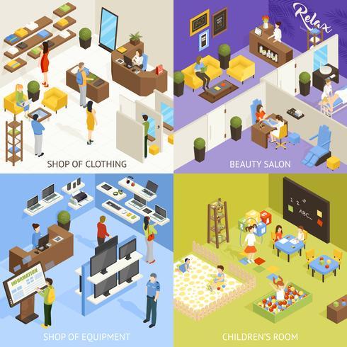 Concept de design isométrique de centre commercial vecteur