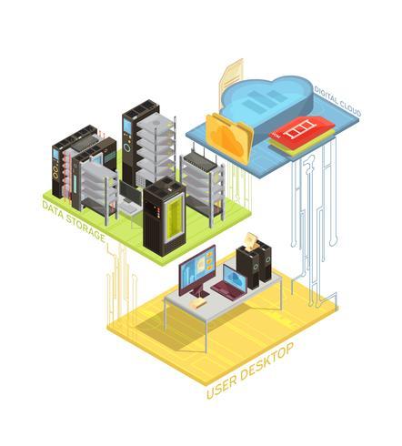 Infographie isométrique du nuage de données vecteur