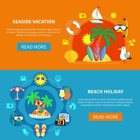 Vacances à la mer bannières vecteur