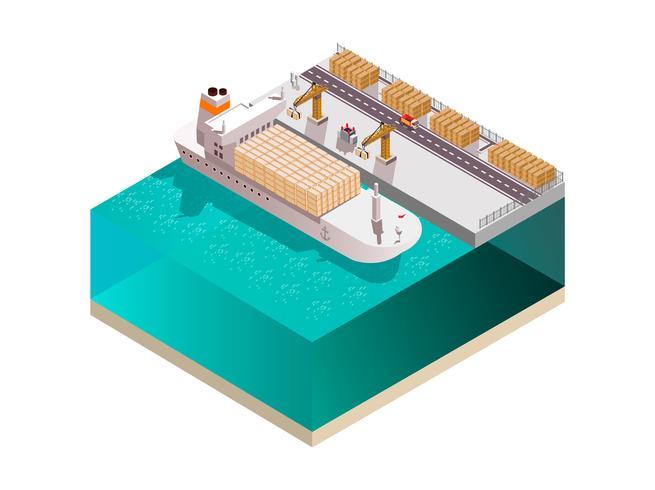 Composition isométrique du bateau arrimeur vecteur