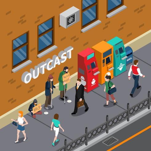 Mendiants à rue illustration isométrique vecteur