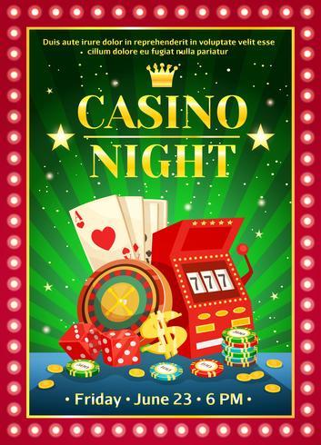 Affiche lumineuse de casino de nuit vecteur