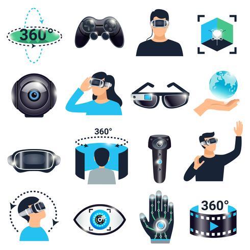 Jeu d'icônes de simulation de visualisation de réalité virtuelle vecteur