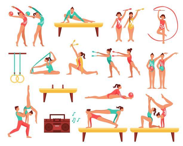 Gymnastique et Actobatics Set d'icônes décoratifs vecteur