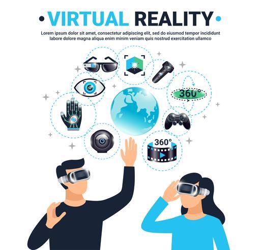 Affiche colorée de réalité virtuelle vecteur