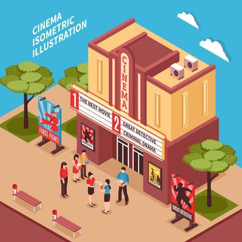 Composition isométrique du bâtiment de cinéma vecteur