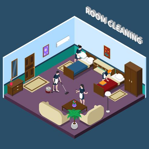Conception isométrique des chambres d'hôtel vecteur