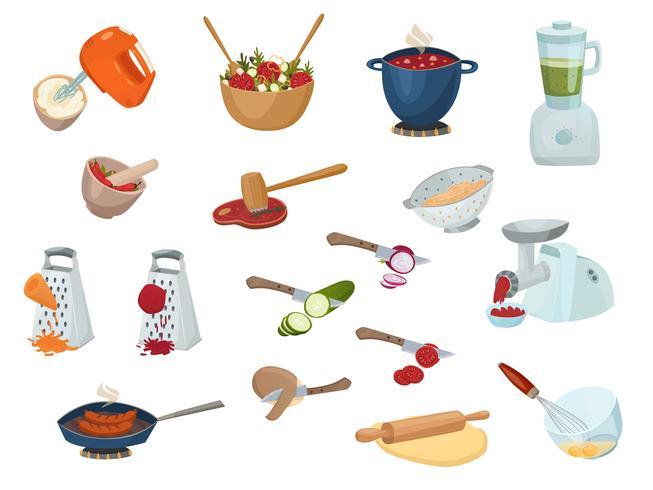 Ensemble de processus de cuisson vecteur