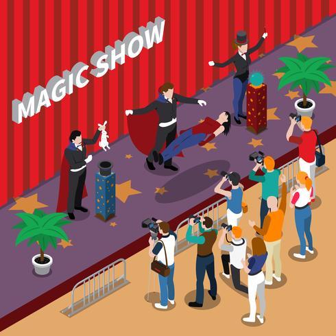 Spectacle magique Illustration isométrique vecteur