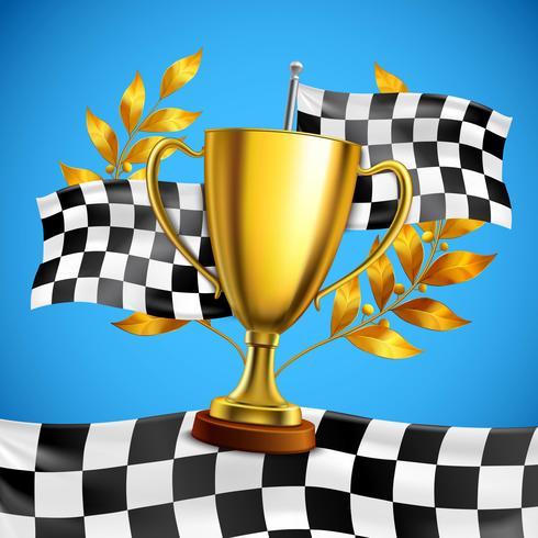 Affiche réaliste du trophée Golden Winner vecteur