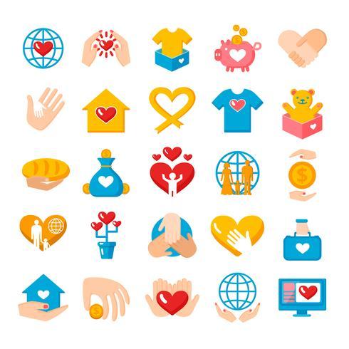 Ensemble d'icônes plat de dons de charité vecteur