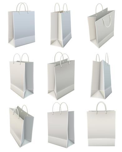 Ensemble de sac à provisions en papier blanc vecteur