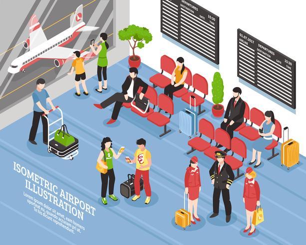 Affiche isométrique de la salle d'embarquement de l'aéroport vecteur