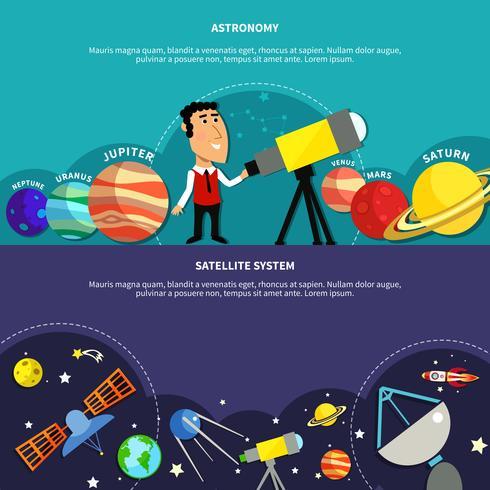 Ensemble de bannières d'astronomie vecteur