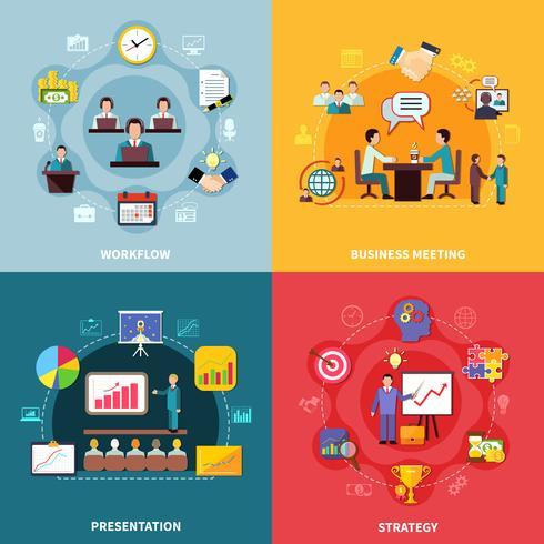 Concept de design de flux de travail d'entreprise vecteur
