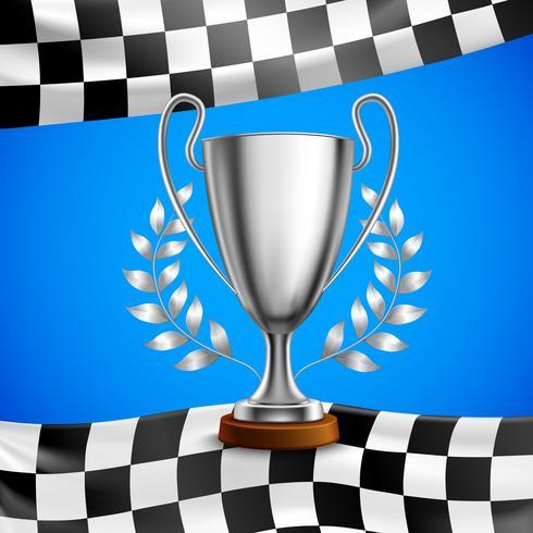 Affiche réaliste du trophée gagnant d'argent vecteur