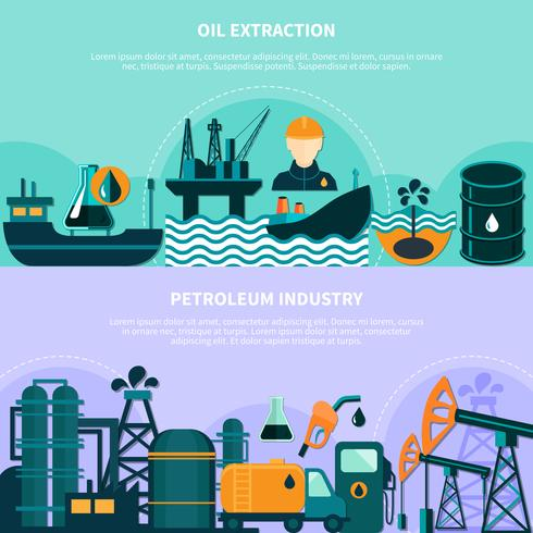 Bannières de production de pétrole offshore vecteur