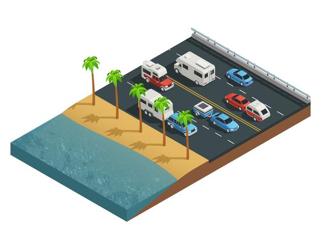Composition isométrique des véhicules de loisirs sur la route vecteur