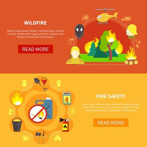 Ensemble de bannières de lutte contre les incendies vecteur