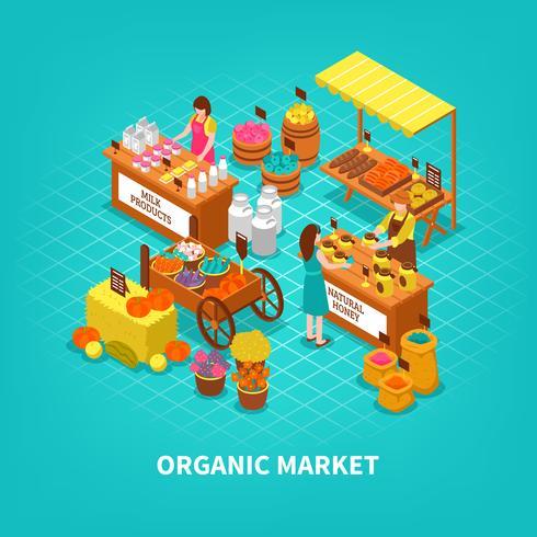 Composition isométrique du marché agricole vecteur