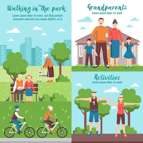 Compositions d'extérieur de grands-parents actifs vecteur