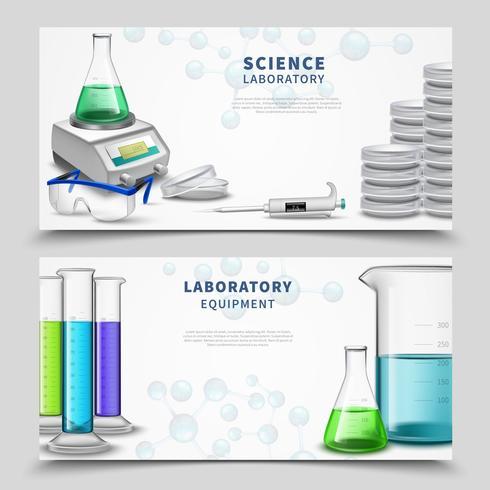 Bannières d'équipement de laboratoire scientifique vecteur