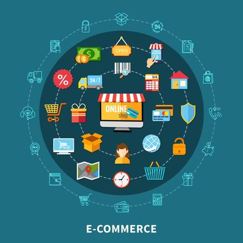 Composition Commerce E Commerce vecteur
