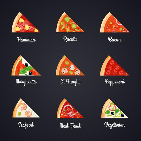 jeu d'icônes de tranches de pizza vecteur