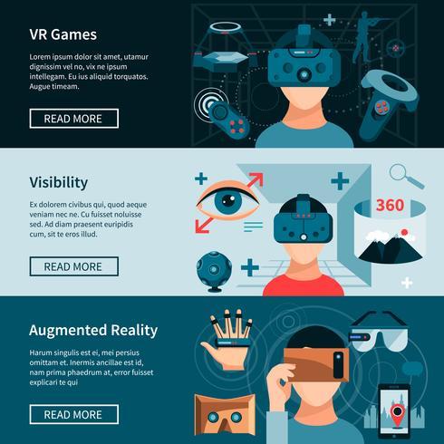Ensemble de bannières de pages Web horizontales de réalité virtuelle vecteur