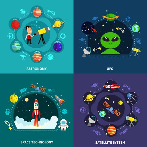 Exploration de l'espace Concept Icons Set vecteur