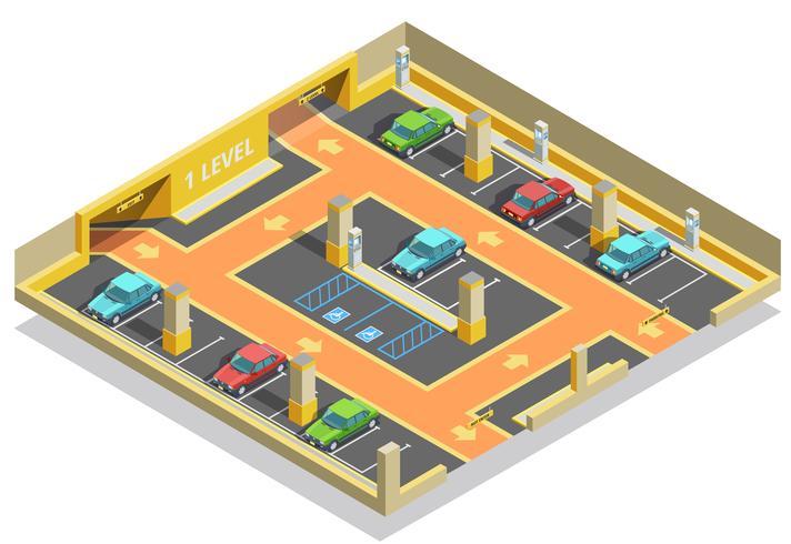 Modèle isométrique de parking souterrain vecteur