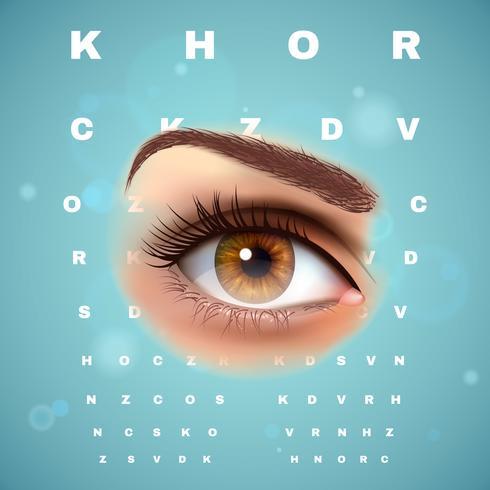 Affiche de tableau de contrôle visuel optométrique ophtalmique vecteur