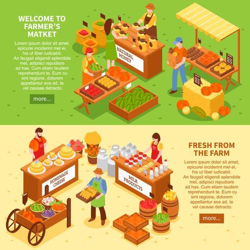 Jeu de bannières de marché agricole vecteur