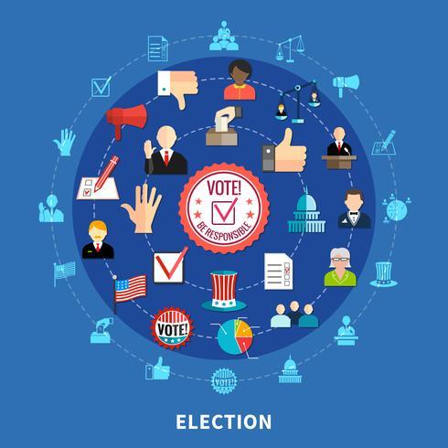 Ensemble d'icônes circulaire de vote en ligne vecteur