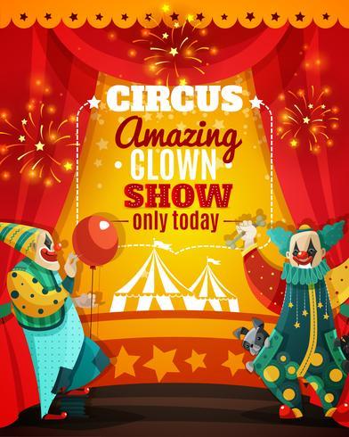 Affiche de faire-part de spectacle de clown étonnant de cirque vecteur