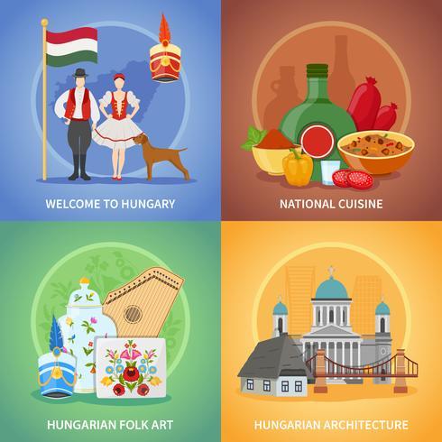 Ensemble de compositions de culture hongroise vecteur