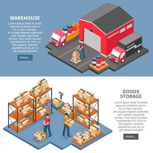 Bannières isométriques de logistique et de livraison vecteur